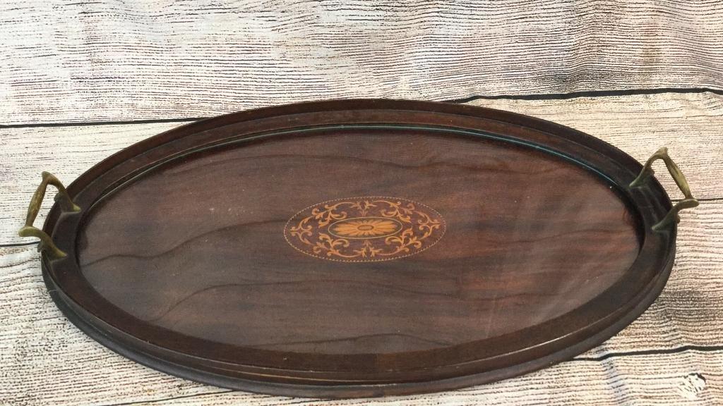 24 inch Inlaid Mahogany Serving Tray
