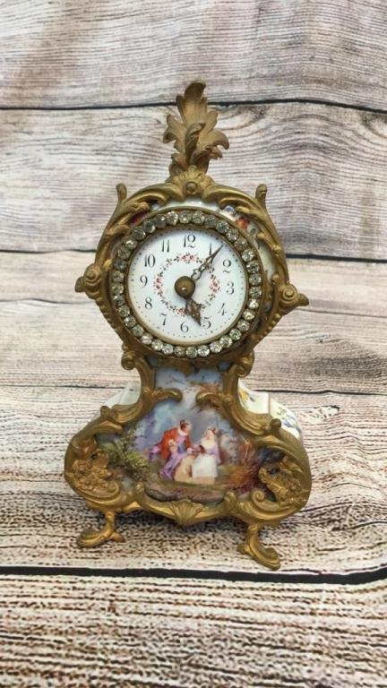 Petite French Porcelain Table Clock