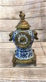 Asian Porcelain and Brass Ornate Clock