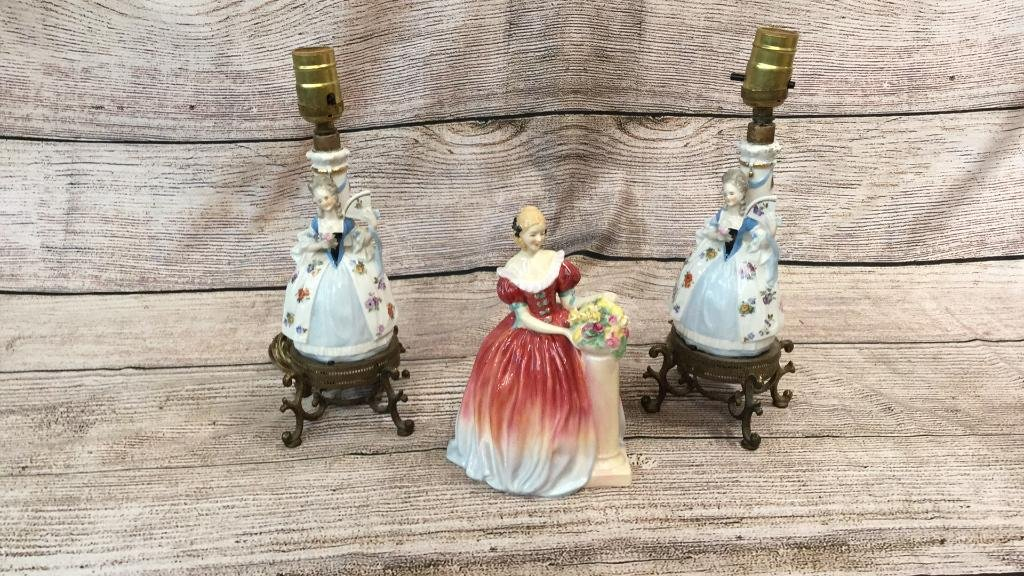 Pair Boudoir Lamps, Royal Doulton Figure