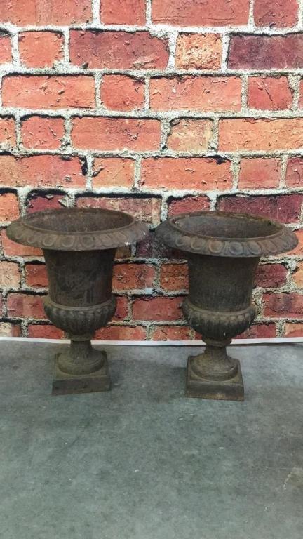 Pair Vintage 24 inch Tall Iron Garden Urns