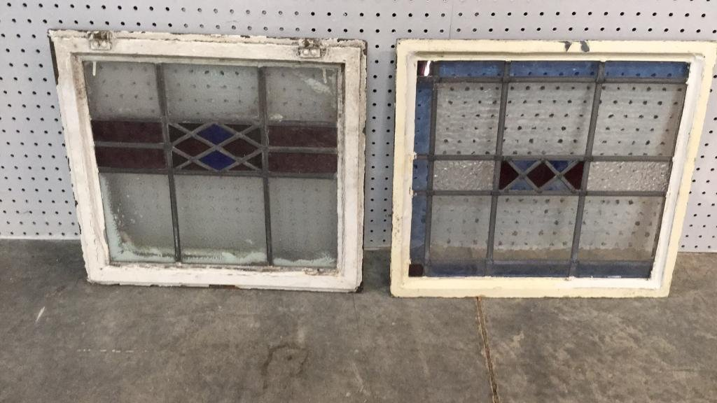 2 Vintage Stained Glass Windows