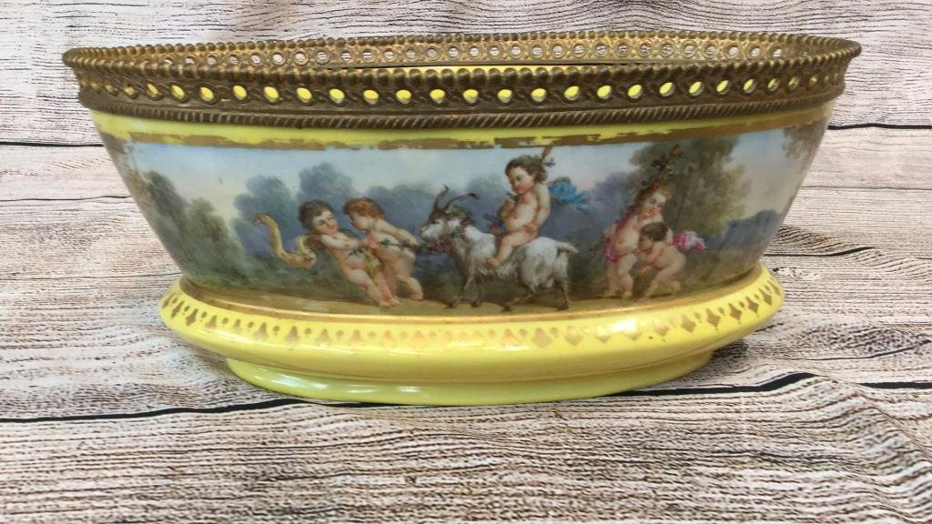 Sevres Porcelain Oval Cachepot