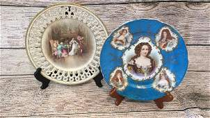 2 Porcelain Pictorial Cabinet Plates