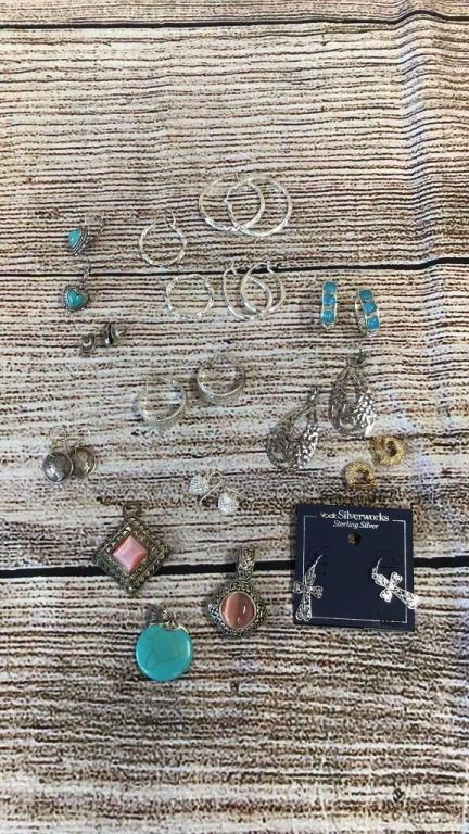 Group Silver Tone Earrings, Pendants