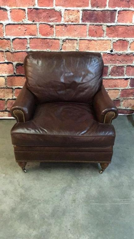 Chocolate Leather Club Chair by Century