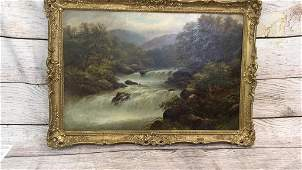 Oil on Canvas Rushing Trout Stream