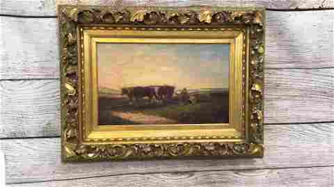 Oil on Canvas, Cattle Plowing