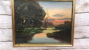 Oil on Board, Cattle at River