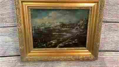 Flemish School Landscape, Oil on Panel