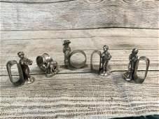 5 Victorian Figural Napkin Rings