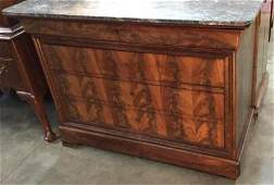 4 Drawer Figured Walnut French Commode