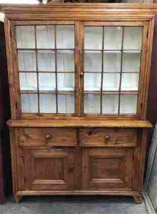 12 Pane Primitive Pine Pewter Cupboard