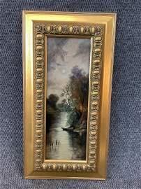 Oil on Panel, Moonlight on River