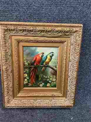 Oil on Canvas, Parrots