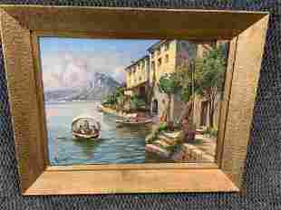 Oil on Canvas, Italian Bay of Naples