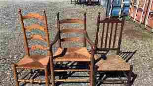 3 Rush Seat Country Chairs