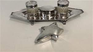 English Silver Desk Set, Christofle Paperweight