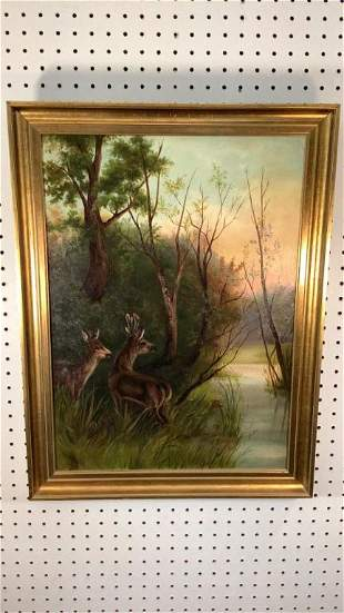 Oil on Board, Deer in Forest Setting