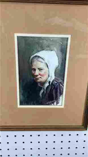 Watercolor Portrait Woman White Kerchief