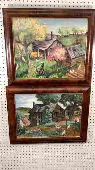 2 Primitive Oil Paintings, Farm Scenes