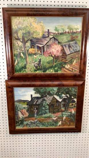 2 Primitive Oil Paintings, Farm Scenes