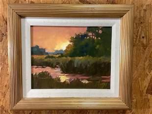 Oil on board, Marsh Sunset..artist signed