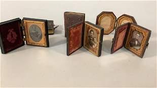 3 Cased Tintypes, Pocket Frame, 2 Photo Albums