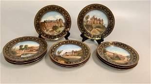12 Sevres Porcelain Chateau Plates