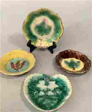 4 Majolica Leaf Plates