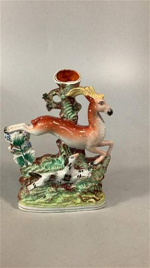 Staffordshire Leaping Stag Vase