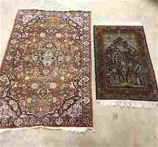 Vintage Persian Throw Rug & Prayer Rug