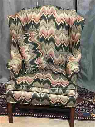 Period Chippendale Wingback in Eye Gazing Fabric