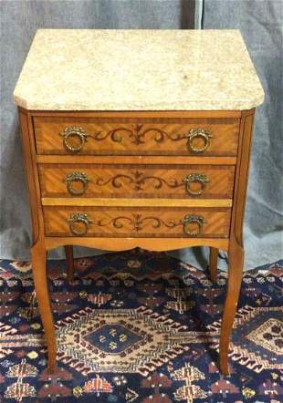 Inlaid Italian Marble Top 3 Drawer Nightstand