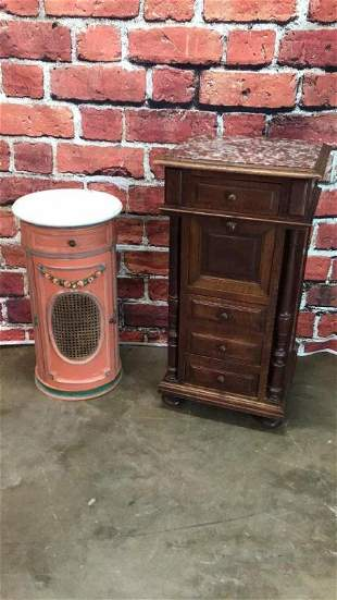 Walnut Chalice Cupboard & cylindrical Nightstand