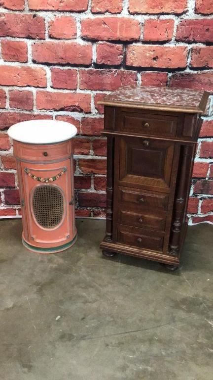Walnut Chalice Cupboard & cylindrical Nightstand