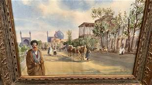 Watercolor of Middle eastern Street Scene