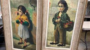 2 Oil on Canvas French Street Children