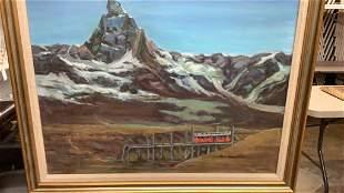 Oil on Canvas, Mountain Scene w/ Railcar