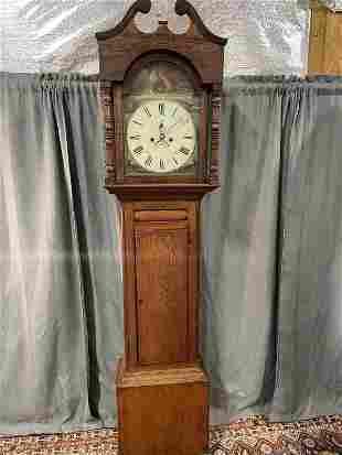 Inlaid English Oak Tall Case Clock