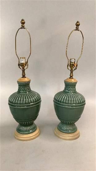 Pair Celadon Table Lamps