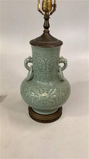 Asian Celedon Vase, Mounted as Lamp