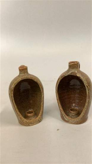 Pair Evans Pottery Candleholders