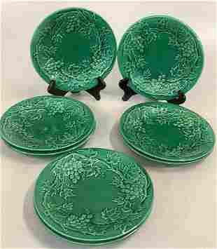 Set of 8 Green Majolica Plates