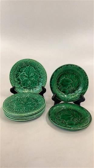 9 Majolica Green Plates