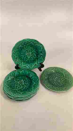 7 Green Majolica Plates, Gien France
