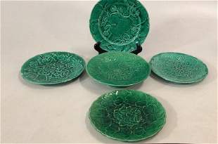 5 Pieces Green Majolica