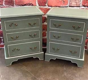 Pair Painted 3 Drawer Diminutive Chest