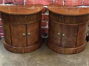 Pair Figured Mahogany Henredon Demilune Cupboards