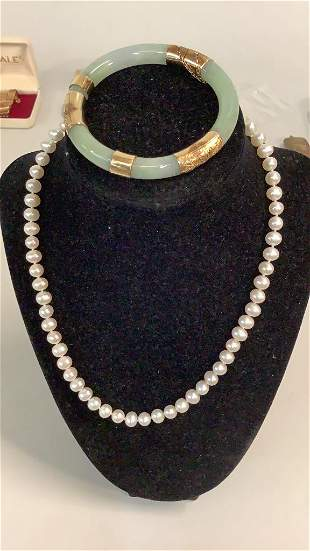 Pearl Necklace, Jade Bracelet